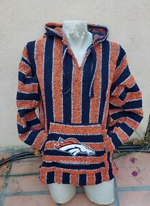 Mexican NFL Denver BRONCOS Baja hoodie pullover sweater XLarge