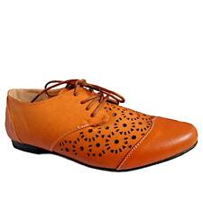 Damen Schuhe Halbschuhe Schnürschuhe Ballerinas Braun Camel