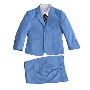 Boys Formal Light Blue Suits Wedding PageBoy Party Prom 5 Piece Suit 2-15 Years