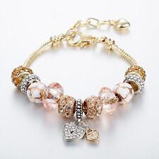 New Gold Plated Rhinestone Crystal European Charm Beads Bracelet Cuff Bangle 7''