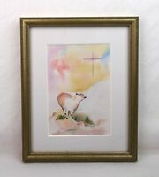 Vintage Mid Century Modern Art Watercolor Painting Sheep Cross Christian Signed