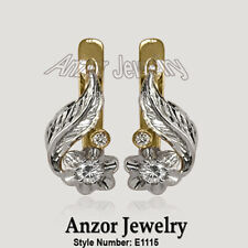 14k Yellow and White Gold Russian Style Genuine Diamond  Earrings