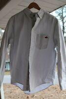 Arkansas Razorbacks M Dress Shirt Mens College Long Sleeve Gray White Stripes