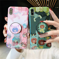 For iPhone 11 Pro Max XR 8+ Cute cartoon Brown bear soft Case Cover Stand Holder