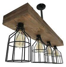 Farmhouse Lighting Triple Wood Beam Vintage Decor Chandelier Light - Great in