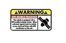 WARNING GPS MOBILE TRACKING Decal - Car/Truck/Home/ATV/UTV