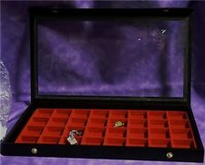 CLEAR TOP 32 EARRING/JEWELRY DISPLAY CASE RED