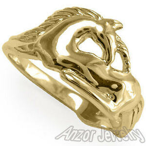 14k Solid Yellow Gold Unicorn Ring Sizes 4 to 9.5 #R1223