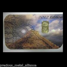Collectors 10 GRAIN 24K PURE .999 GOLD BULLION 2012 MAYAN CALENDER LTD EDITION !