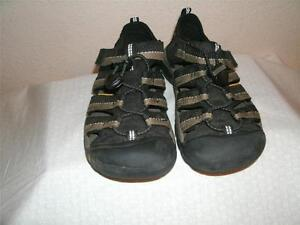 Keen Youth Kids Tan And Black Leather And PolyesterSandals Shoes Shoe  Size 2