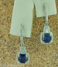 1.61 ct 14k Solid White Gold Dangling Natural Blue Sapphire &  Diamond Earring