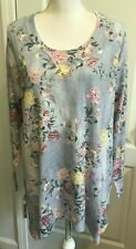 SOFT SURROUNDINGS Womens Sweater Tunic Long Sleeves BLUE Pink Floral Size PL