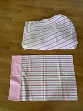 Vintage Grants Home Pink Striped Full Fitted Sheet and pillow case Usa