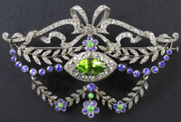 925 Silver Rose Cut Victorian Look Diamond Peridot Blue Sapphire Pin Brooch