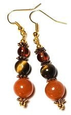 GOLD BROWN AGATE EARRINGS long drop dangle boho chic unique vintage gypsy retro