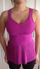 Lululemon Size 10 Ultra Violet Pink Pleated Peplum City Tank shirts top ruffle