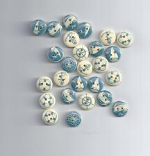 10 pcs Anchor ocean series wood decorative buttons for craft mixed blue ocean  7