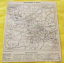 1898 Département du nord  Lille Tournai Mons carte de la France Frontière Belge