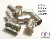 10 pcs Hammered Bead Tubes Sterling Silver 925 size 6x10mm, 7x10mm, 6x5mm, 7x5mm