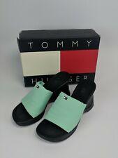Tommy Hilfiger Women's 7.5M Nadia Blue Heels - Shoes Slides Open Toe Navy Suede