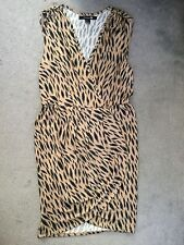 FOREVER 21 TAN DRESS WITH BLACK DASHES -IT'S SLEEVELESS-CROSSOVER & WRAP SKIRT-M