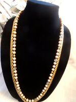 Miriam Haskell Vintage 3-Strand Glass Pearl and Gold-ton Necklace  ~SIGNED