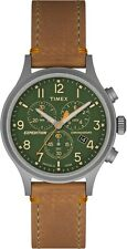 Timex TW4B04400 Men's Expdition Leather Band Green Dial Chronograph Watch
