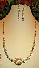 PRETTY GOLD-PLATED CLOISONNÉ  BEADED HANDMADE NECKLACE + EARRINGS