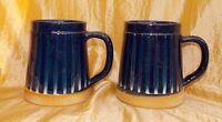 Drip Glaze Mugs Cups Blue Set 2 Almus Keramik Denmark Pottery Scandinavian 18 oz