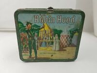"""Vintage 1956 """"Robin Hood"""" Metal Lunch Box & Thermos (Missing handle)"""