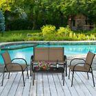 Patiojoy 4 Pcs Patio Furniture Set Sofa Coffee Table Steel Frame Garden Brown