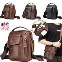 Men Leather Briefcase Laptop Handbag Business Travel Crossbody Shoulder Bag Tote