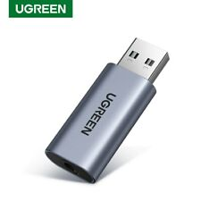 Ugreen External USB Audio Adapter Sound Card 3.5mm Aux Microphone For PS4 Laptop