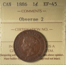 1886  - Canada Large Cent - ICCS Graded EF-45 - Serial #XBW 676
