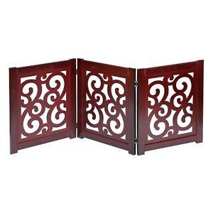 Home District Freestanding Pet Gate - Wood 3 & 4 Panel Folding Dog Gate Fence