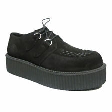 Creepers | Womens Nevermind Black Suede UMD Double Sole Retro | Brothel Creepers