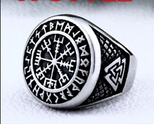 Norse Viking Helm Of Awe Rune Ring Size T 1/2