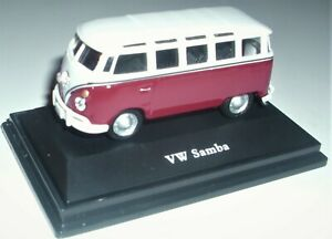 Cararama, VW T1 Samba Bus rot weis, Maßstab 1:72, OVP und Neu in Vitrine.