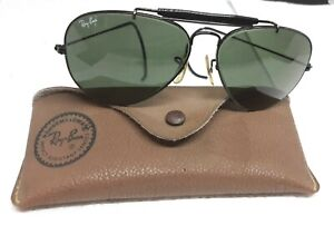 VINTAGE B&L RAY-BAN SUNGLASSES ' AVIATOR ' WIRE FRAMES ' 58 SQUARE 14 ' CASE