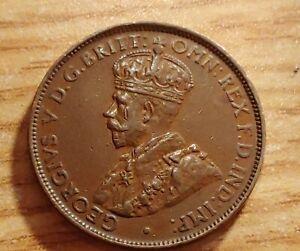 AU 1928 Australia Half Penny, 8 Pearl Full Center Diamond Crown w Holder.