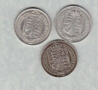THREE 1887/1889 & 1892 VICTORIAN JUBILEE HEAD SHILLINGS IN GOOD FINE CONDITION