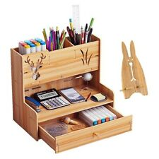 Wood Office Desk Organizer Desktop Pen Pencil Storage Box Phone Holder Drawer US