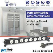 RACK MOUNT POWER BOARD 1 RU 8 WAY OUTLETS STRIP RAIL POWERBOARD WITH 3 PIN NEW