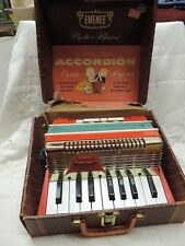Old Vintage EMENEE Golden Piano ACCORDION 405 Childrens Musical Toy + Case WORKS