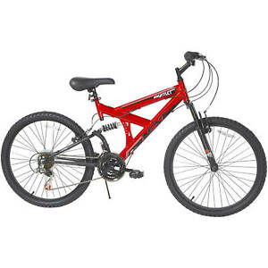 """Boy's 24"""" Gauntlet Mountain Pro Bike w/ Dual Suspension, 18-Speed, Ages 13+, Red"""