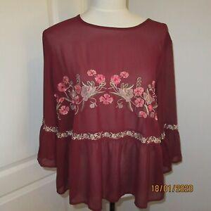 NewLook Ladies Burgundy Sheer Blouse With 3/4 Sleeves Size16