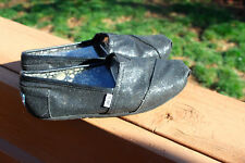 TOMS Black Sparkle Glitter Fabric Flats Slip On Shoes Womens US W9.5, 9 1/2 WOW!