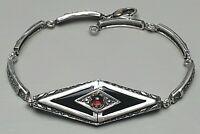Art Deco Silber Armband 800 Silber um 1930 Onyx & Almandin Granat besetzt/A568