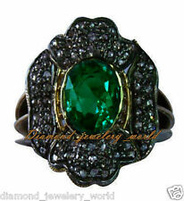 Artdeco Estate 1.75cts Pave Rose Cut Diamond Emerald Studded Silver Ring Jewelry
