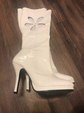 Funtasma Womens White Shiny Stiletto Flower Boots Size 10